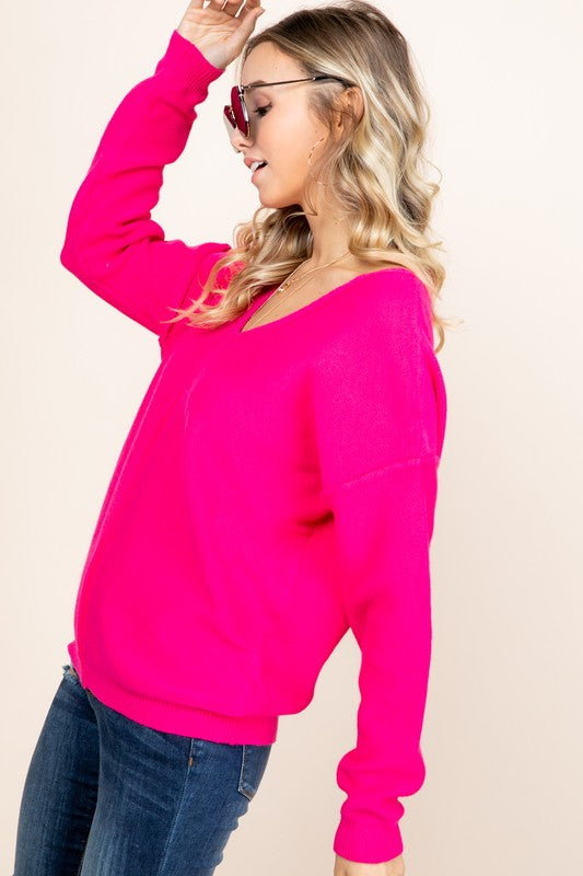 Fuchsia V-Neck Long Sleeve Sweater