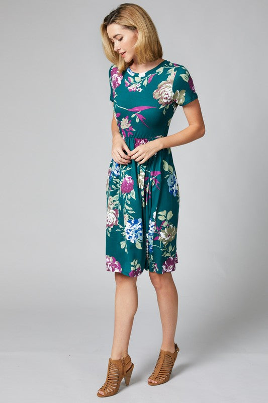 Short Sleeve Floral Dress With Pockets