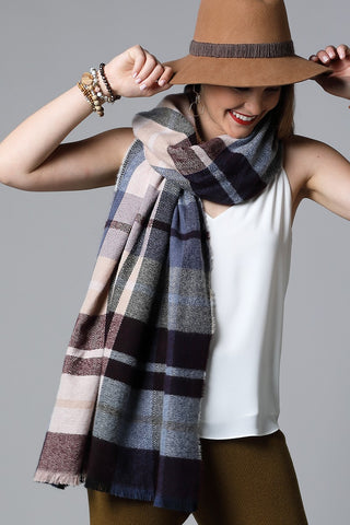 Multi-Plaid Oblong Scarf in Navy