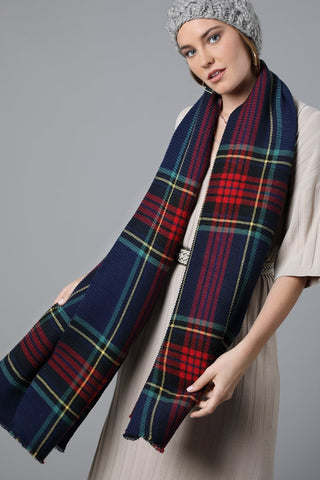 Pleated Plaid Oblong Scarf In Navy