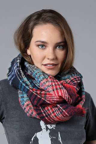 Plaid Infinity Scarf In Red/Blue