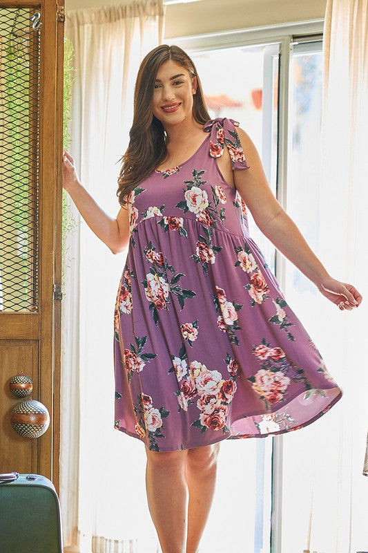 Shoulder Tie Floral Babydoll Dress