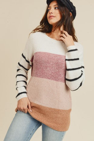 Colour Block Sweater With Striped Sleeves
