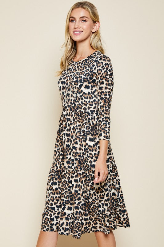 Leopard Print Tiered Midi Dress