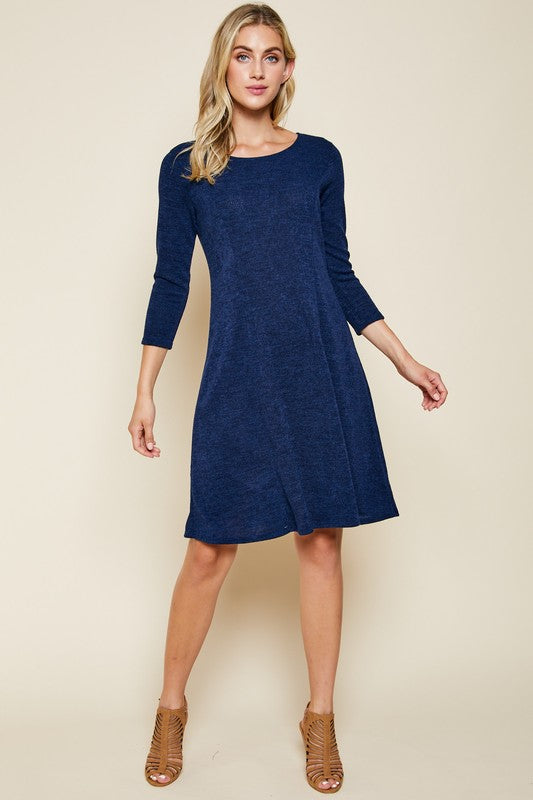 Navy 3/4 Sleeve Fit & Flare Dress