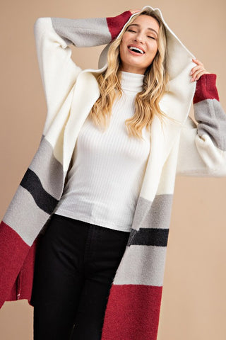 Colour Block Hooded Open Cardigan