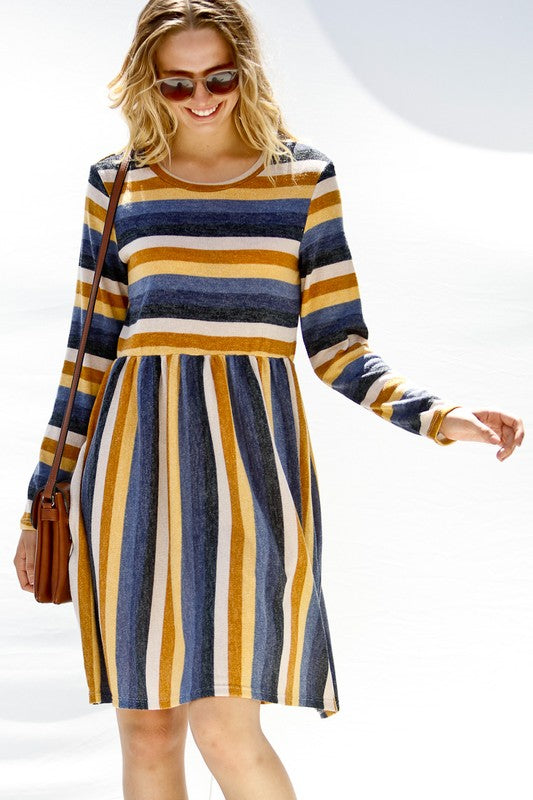 Long Sleeve Striped Knit Dress