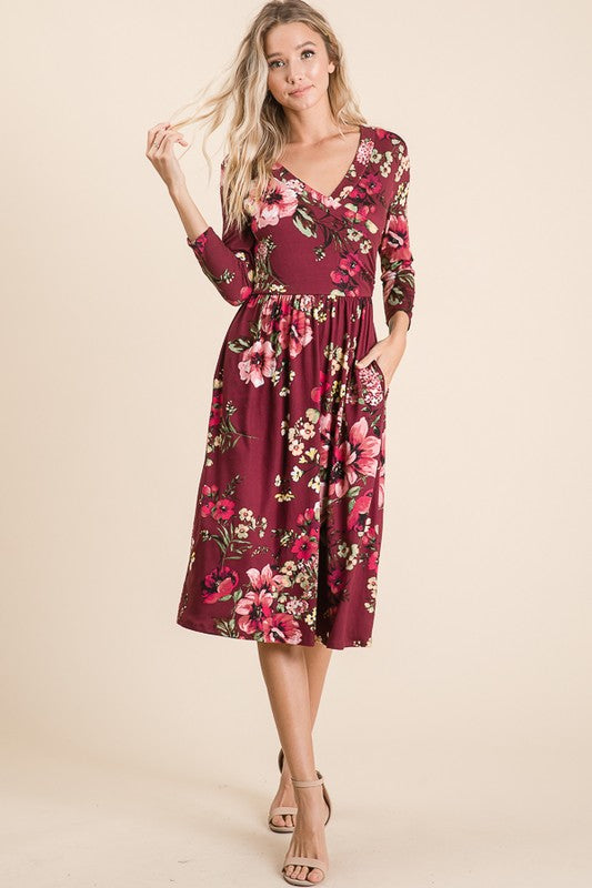 V Neck 3/4 Sleeve Midi Dress