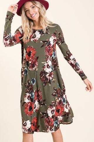 Olive Floral Print Long Sleeve Dress