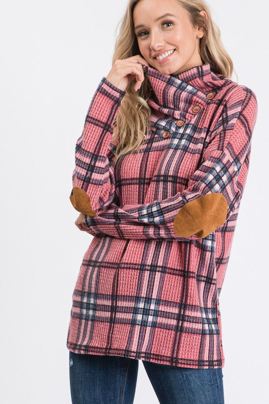 Plaid Top With Cowl Neck