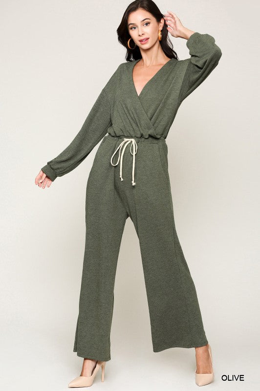 Crossover V-Neck Wide Leg Jumpsuit