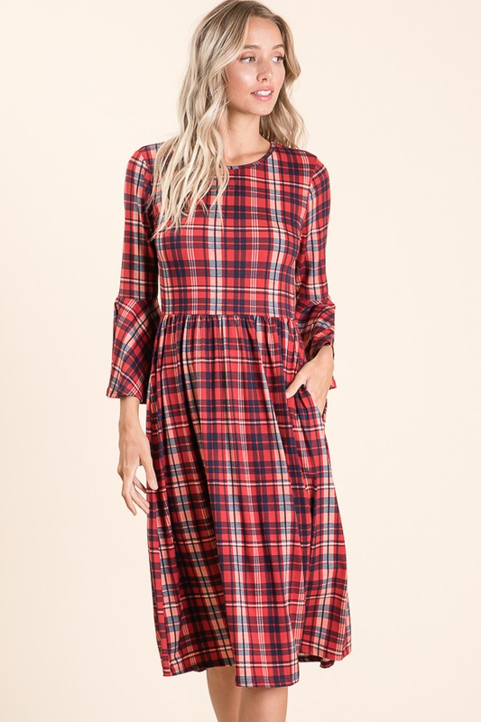 Bell Sleeve Plaid Midi Dress