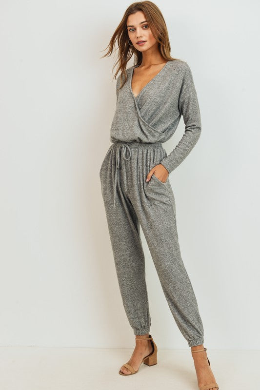 Long Sleeve Surplice Jumpsuit