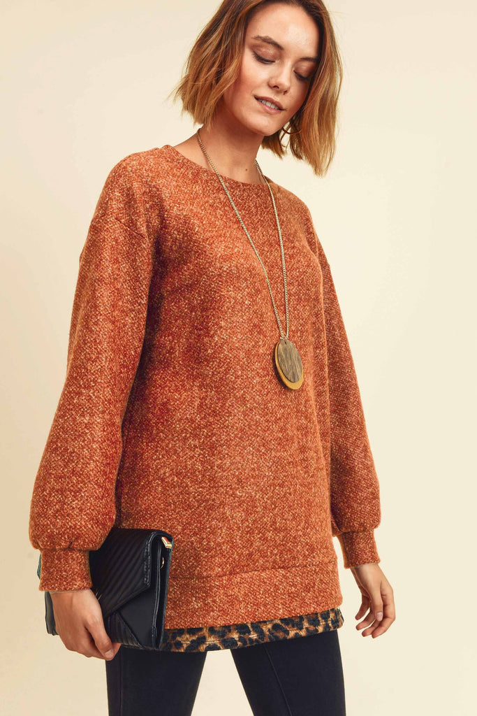 Cognac Leopard Trim Top