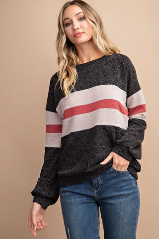 Colour Block/Stripe Knit Top