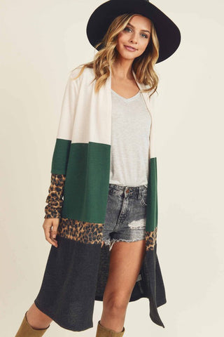 Open Leopard/Colour Block Cardigan