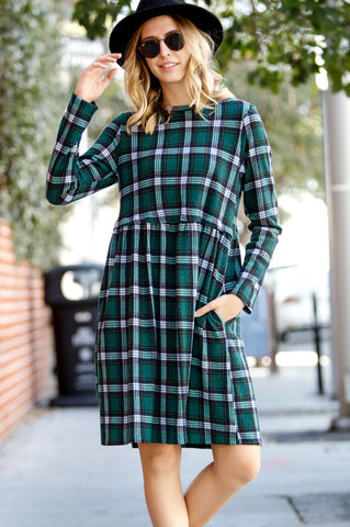 Long Sleeve Tartan Dress