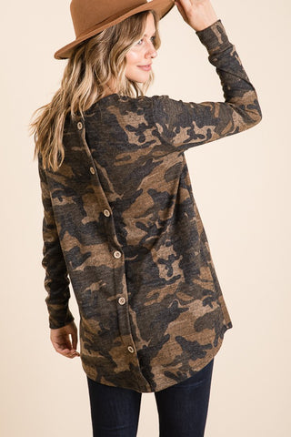 Camo Top With Button Back Detail