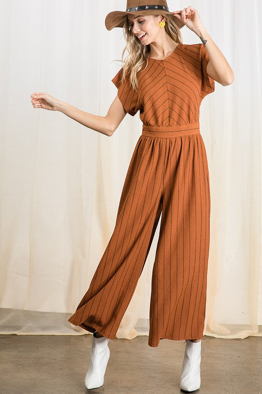Striped Print Wide Leg Jumpsuit