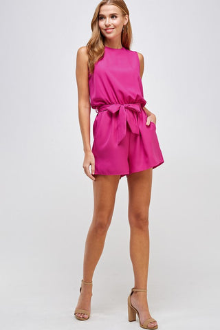 Sleeveless Tie Belt Pocket Romper