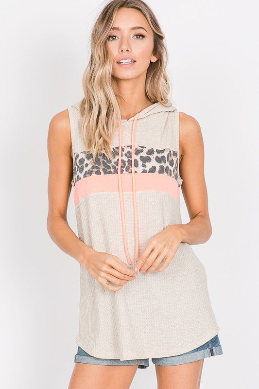Leopard Hood Sleeveless Top
