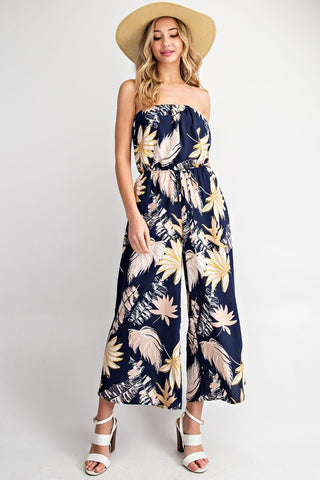 Wide Leg Tropical Print Jumpsuit