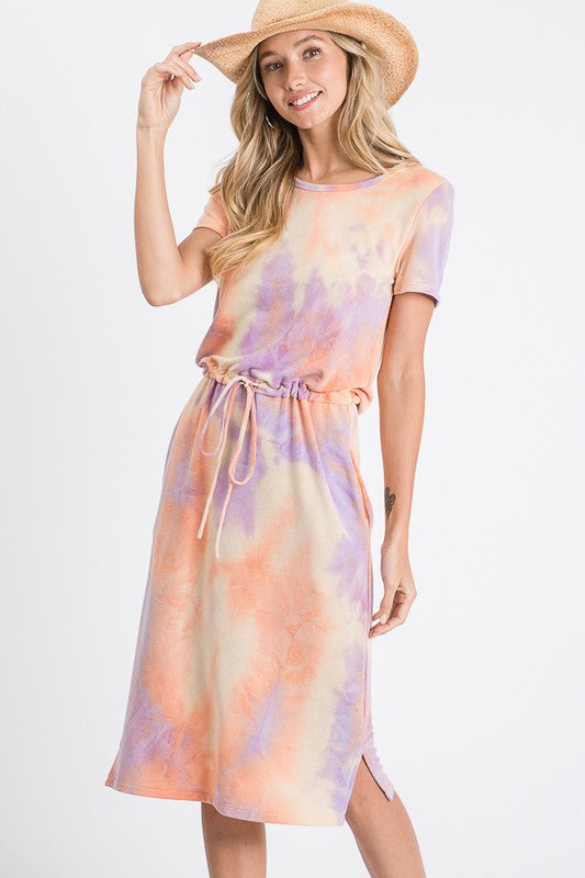 Short Sleeve Tie Dye Dress (Lavender/Orange)