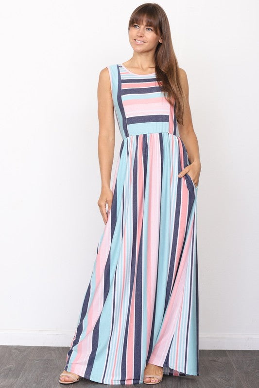 Mix Stripe Maxi Dress