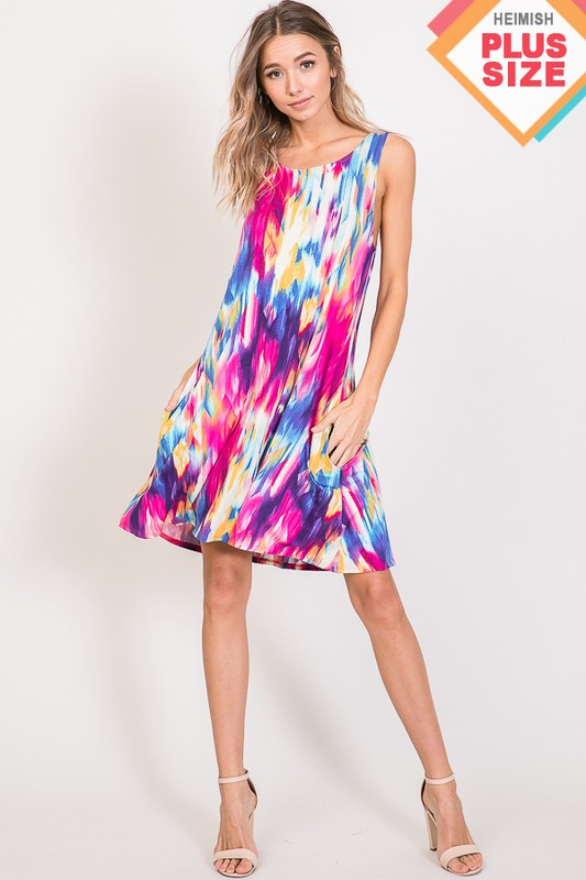 Multi Color Print Dress (Plus Size)