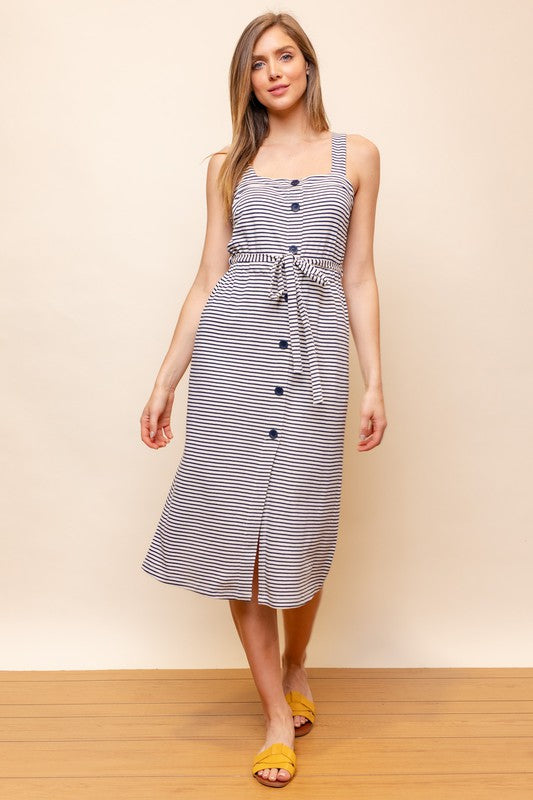 Button Front Striped Midi Dress