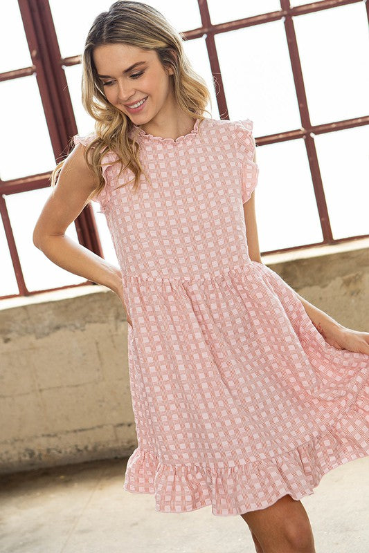 Pink Checkered Babydoll Dress