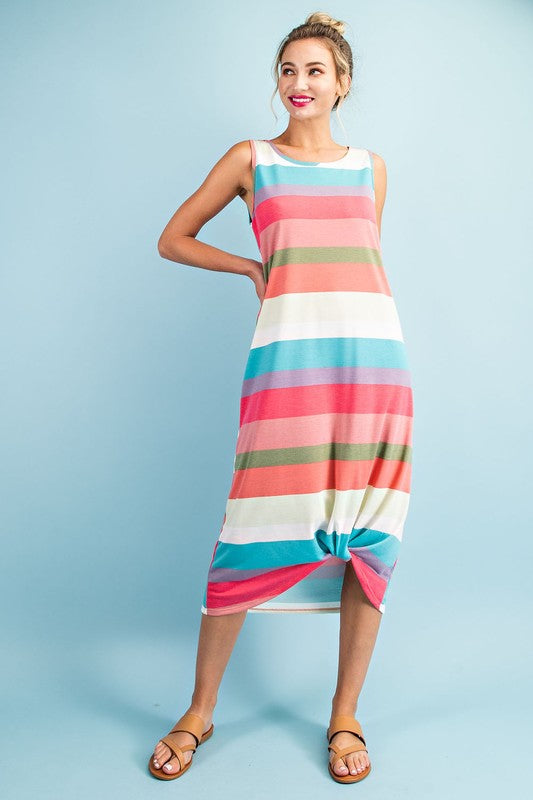 Striped Twist-Front Dress