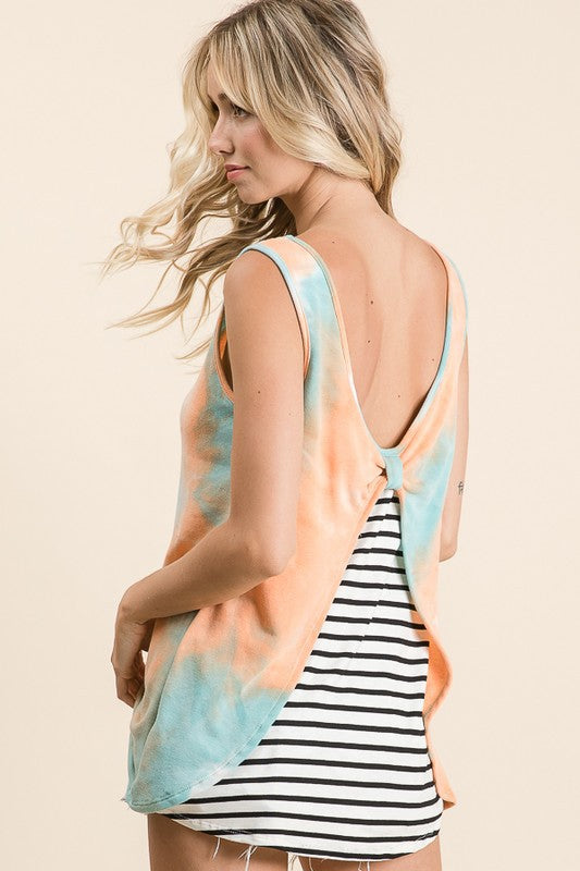 Stripe Back Tie Dye Tank Top
