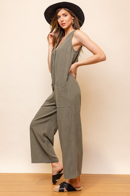 Sleeveless V-Neck Button Down Jumpsuit