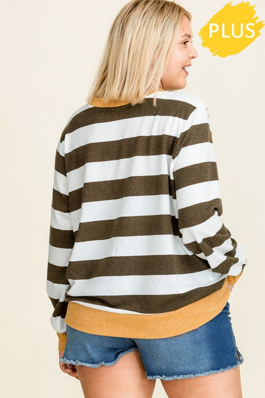 Long Sleeve Stripe Top (Plus Size)