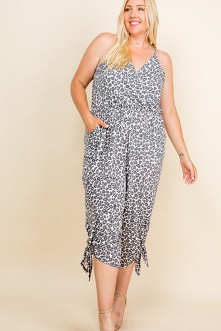 French Terry Midi Leopard Jumpsuit (Plus size)