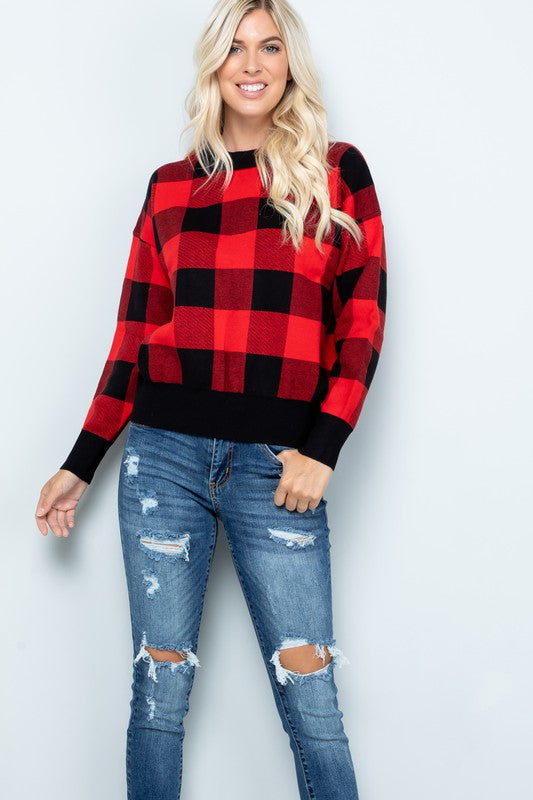 Buffalo Plaid Sweater (Plus Size)