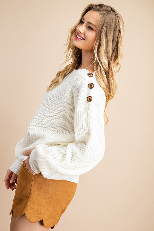 Ribbed Balloon Sleeve Sweater