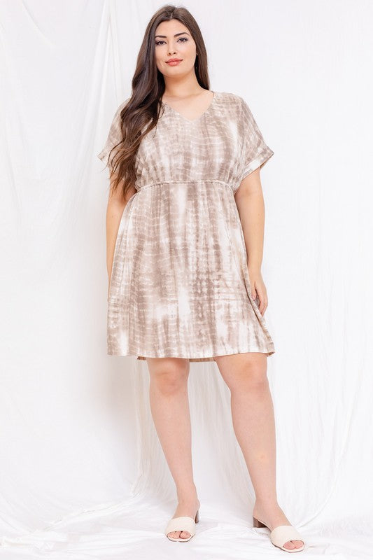 Short Sleeve Dress with Waist Tie (Plus Size)