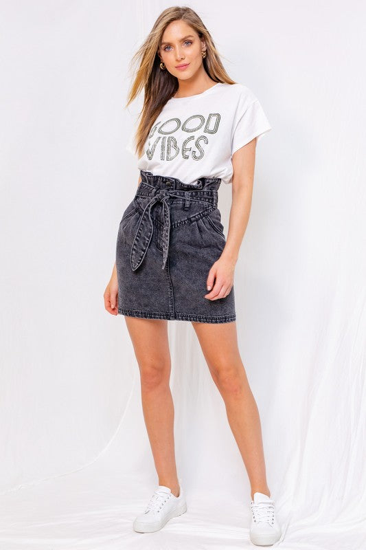 High Waisted Tie Belt Denim Skirt