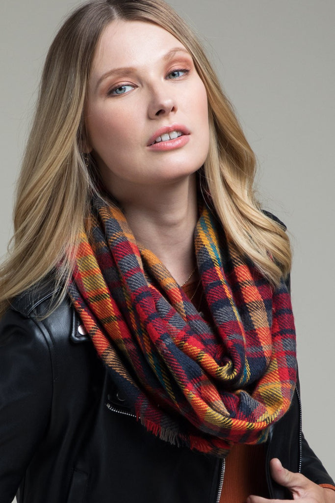 Fringe Accent Plaid Infinity Scarf