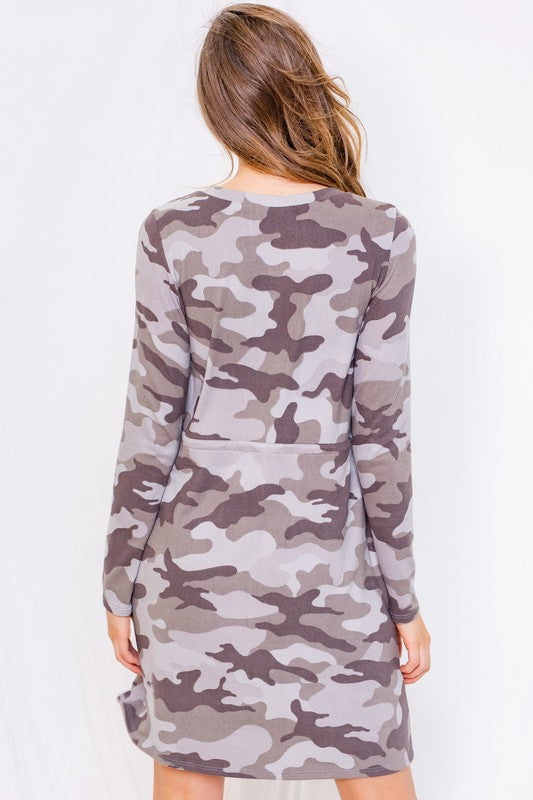 Long Sleeve Round Neck Camo Dress