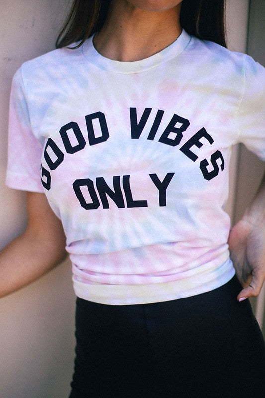 """Good Vibes Only"" Tie Dye T-Shirt"