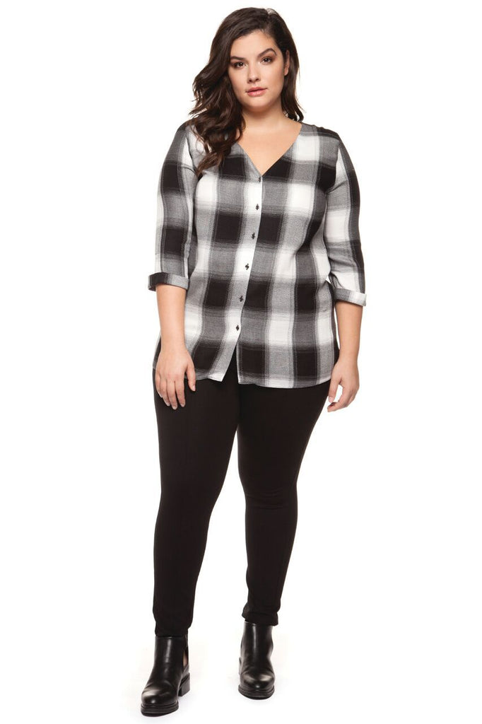Dex - Plaid V Neck Blouse with Back Detail