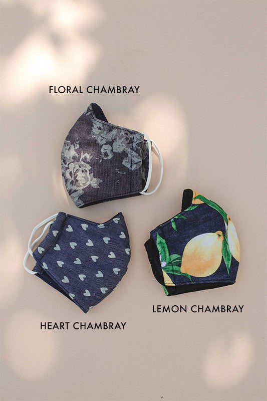 Heart Print Chambray Adult Face Mask