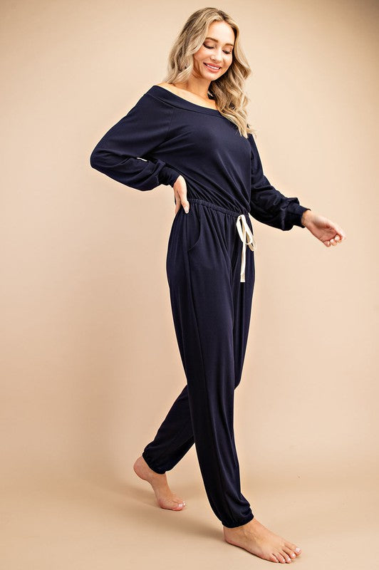 Off Shoulder Drawstring Jumpsuit