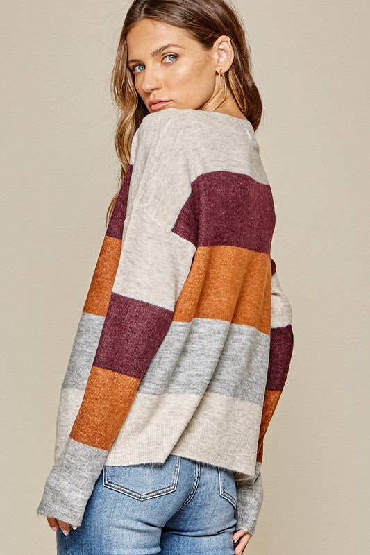 Lightweight Color Block Pullover