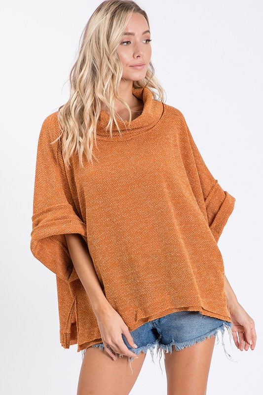 Short-Sleeve Cowl Neck Pullover (Plus Size)