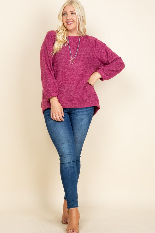 Cuffed Sleeve Pullover (Plus Size)