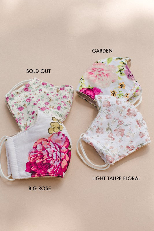 """Garden"" Print 3 Layer Adult Face Mask"